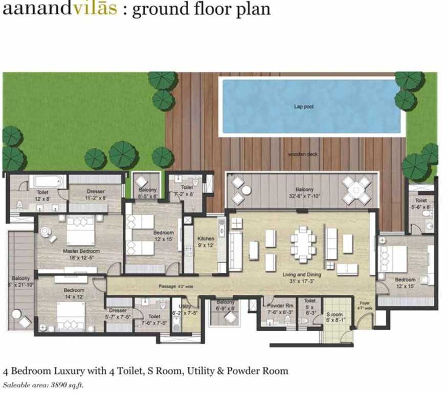 4 BHK+4T+SR Luxury Floor Plan