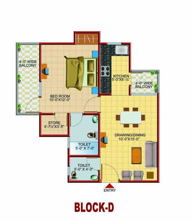 1 Bhk 650 Sq Ft Floor Plan