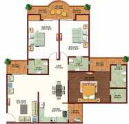 Super Area – 1795 sq.ft.3 BHK +3 Toilets + Dining Room + Dress