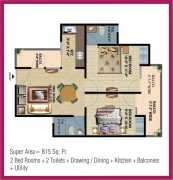 2 Bedroom + 2 Toilets + Drawing / Dining  + Kitchen + Store + Balconies + Utility