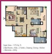 3 Bedroom + 2 Toilets + Drawing / Dining  + Store + Kitchen + Balconies + Utility