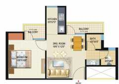 1 Bed Room (Option 1)  Super Area = 585 Sq. Ft