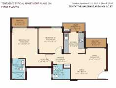 908 SQ. FT. - 2 BEDROOMS + 2 TOILETS + UTILITY