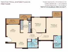 912 SQ. FT. - 2 BEDROOMS + 2 TOILETS + UTILITY