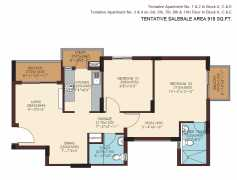 918 SQ. FT. - 2 BEDROOMS + 2 TOILETS + UTILITY