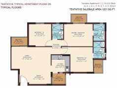 1221 SQ. FT. - 3 BEDROOMS + 3 TOILETS + UTILITY