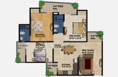 2 Bedrooms, 2 Toilets, Kitchen, Dining, Drawing, 2 Balconies Super Area - 1295 SqFt