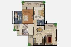 3 Bedrooms, 2 Toilets, Kitchen, Dining, Drawing, 4 Balconies Super Area - 1595 Sq Ft