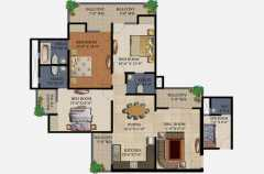 3 Bedrooms, 3 Toilets, Kitchen, Dining, Drawing, Servant Room, 4 Balconies Super Area - 1750 Sq Ft