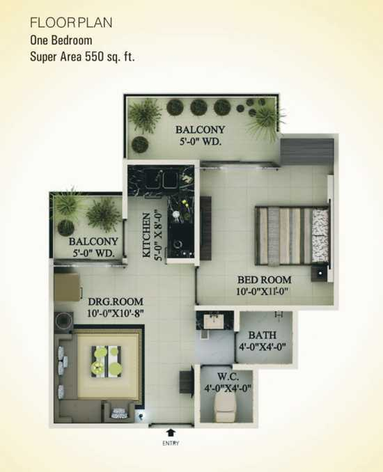 1 BHK 550 Sq.ft : Floor Plan