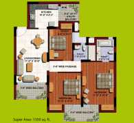 2 BHK	 : 1350 sq. ft