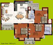 3 BHK	 : 1566 sq. ft