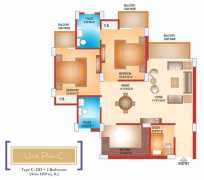 2 BHK	 : 1250 sq. ft