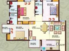 3 BHK	 : 1661 sq. ft