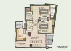 2BHK TOWER-A,C 1305 Sq. Ft.