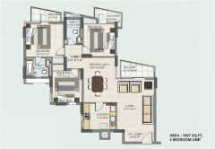 3BHK TOWER-H,J 1697 Sq. Ft