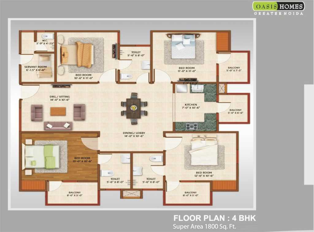 4 Bhk 1800 Sq Ft Floor Plan