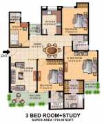 3 BHK With Study Super Area : 1710 Sq. Ft.