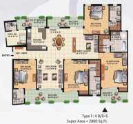 4 BHK With Family Lounge Super Area : 2800 Sq. Ft.