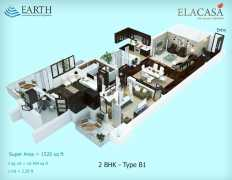 2BHK Type B1  1520 sq ft.