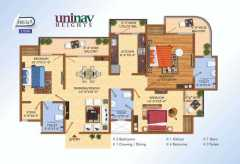 3 BHK 1495 SQ.FT.