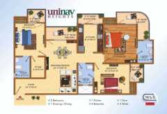 3 BHK 1580 SQ.FT.